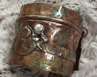 Handmade Copper Fold Formed Cuff Bracelet