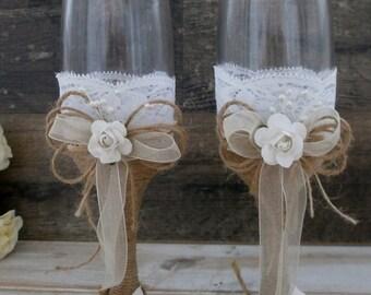 Wedding Glasses Toasting Flutes Champagne Glasses Burlap and Lace Glasses Rustic Wedding Champagne  Wedding reception Bride Groom Glasses
