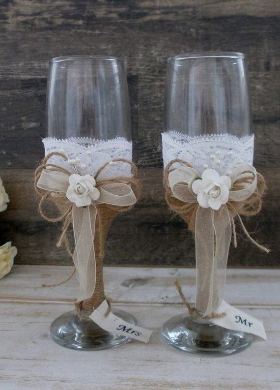 Wedding glasses toasting flutes champagne glasses burlap and for Wine glass decorations for weddings