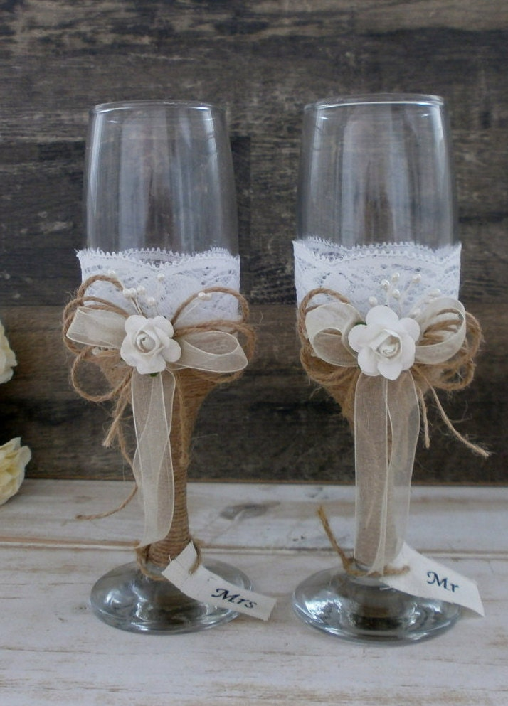 wedding glasses toasting flutes champagne glasses burlap and