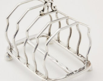 Four Slice Solid Silver Toast Rack 1901