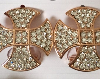 Earings, Rhinestone earings, Gold plated Rhinestone earings