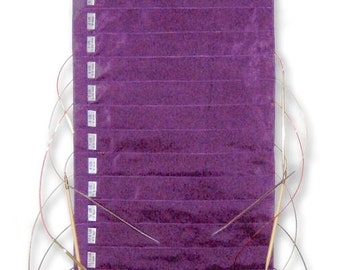 Della Q Hanging Circular Needle Case 142-1 Circular Knitting Needle Storage SILK:Purple, Ocean, Red, Seafoam Circular Hanging Needle Storage