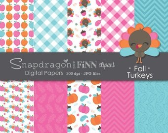 Pink Autumn Papers, Pumpkin Papers, Thanksgiving Digital Papers, Turkey Papers, Pink Fall Papers, Apple Papers, Commercial License Included