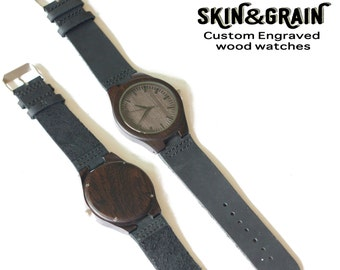5th Anniversary Gift, Wooden Watch, Engraved Wood Watches, Engraved Mens Watch, Personalized Wooden Watch, Father's Day Gift, Dad Gifts