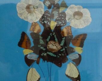 Retro vintage artwork. Flowers, Butterflies