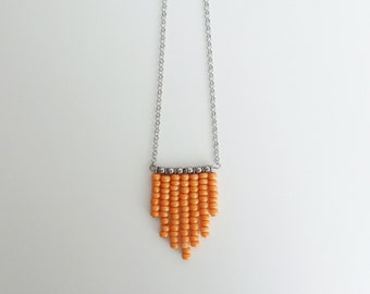 Minimal necklace orange beads