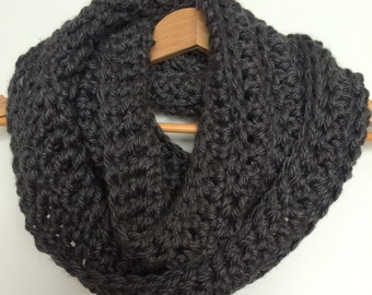Charcoal Grey Crocheted Infinity Scarf Cowl