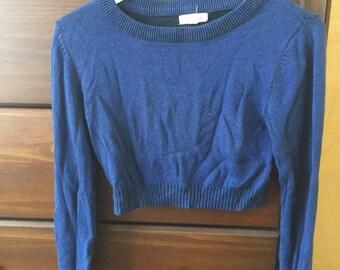 Women's Cropped Navy Blue Sweater