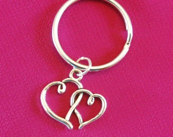 Double Heart Keychain, Valentines Gift for Mom Aunt Key Chain, Love Intertwined Heart keyring, Wedding Favors her girlfriend wife sister bff