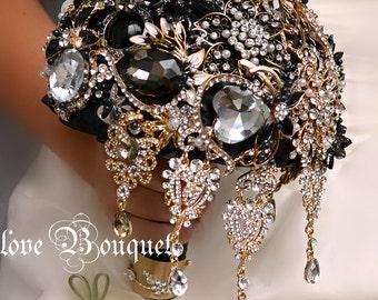 Black Brooch Bouquet, Black Gold Silver Wedding Bouquet, Keepsake Bridal Bouquet, Crystal Rhinestone Jewelry Wedding Bouquet, Bride Bouquet