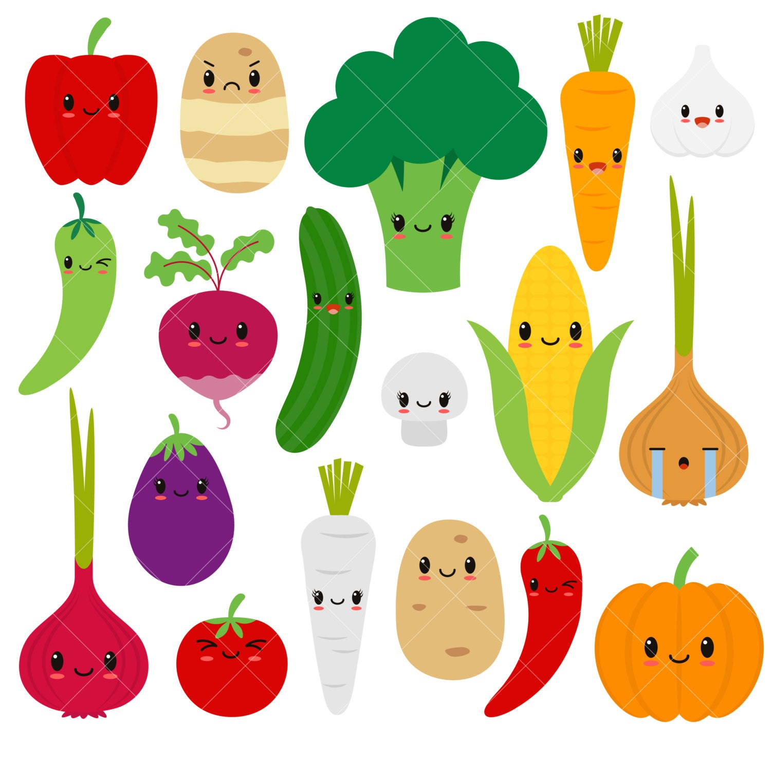 Kawaii Vegetables / Cute Vegetable Clipart / Happy Veggies