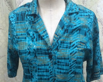 Vintage 1970s Royal Blue and Black Print blouse