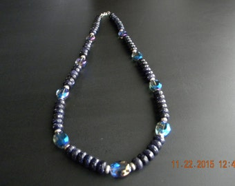 Blue Goldstone and Crystal Beaded OOAK Necklace