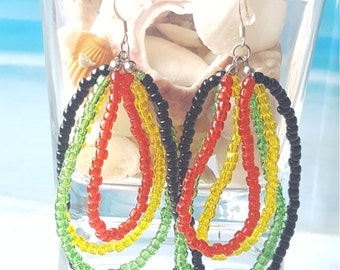 Handmade Rasta colored beads earrings