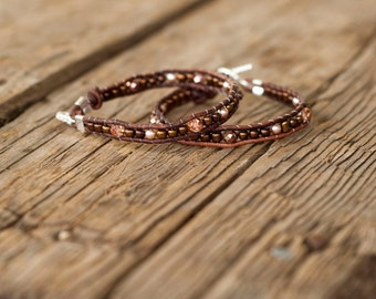 Warm rosy brown bracelet / anklet