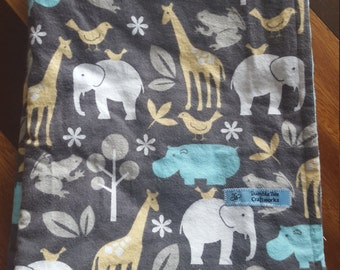 "Jungle Animals Baby Blanket-Flannel and Minky-Size 30""x40"""