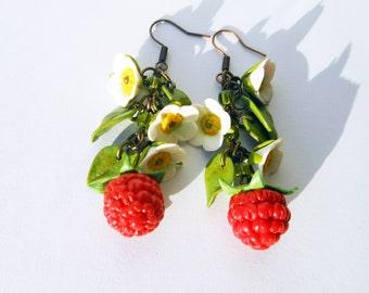 Earrings Raspberry handmade of polymer clay / Jewelry berries / Earrings berries and flowers raspberries