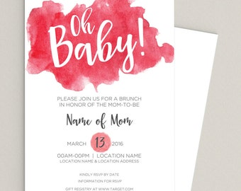 Watercolor Baby Shower Invitation - Qty 25