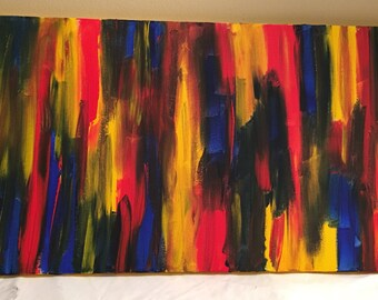 Red, blue & yellow, abstract acrylic painting, 12x24