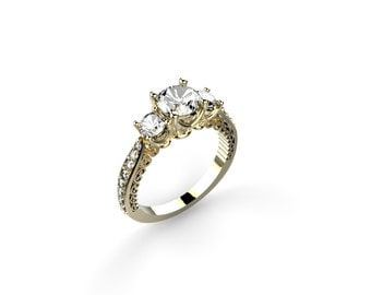 Antique Style Engagement Ring with White Sapphire Engagement Ring 14k Yellow Gold Engagement Ring Yellow Gold Ring Diamond Alternative SSE70