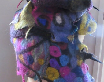Hand felted scarf, merino wool, color on black, wild and wooly, resist felted, long, dense, fun, funky, OOAK, art to wear, statement piece