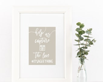 wedding hashtag sign // help us capture the love // custom wedding sign // instagram sign