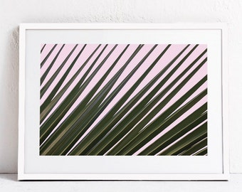 Palm PRINTABLE ART Palm Leaf Art-Palm Decor-Pink Print-Palm Leaf Photography-Palm Leaf Wall Art Print-Pink Wall Art DOWNLOAD Print-24x36 Art