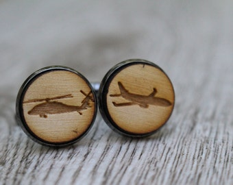 Engraved Airplane Real Wood Cuff Links, Rustic Wedding Accessories, Groomsman CuffLink Gift, Personalized Laser Engraved Anniversary Gift,