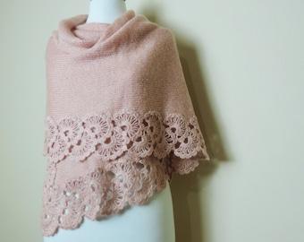 Pink Wedding Shawl, Crochet Shawl, Bridal Stole, Wedding Wrap, Knitted Shawl, Spring Wedding, Rectangular Shawl, Soft Pink Shawl
