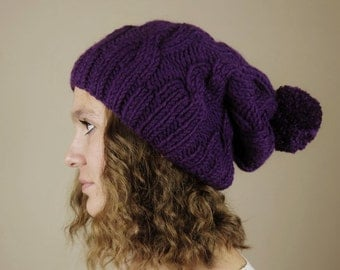 Purple (or Choose Color) Hand Knitted Beanie, Slouchy Beanie, Cable Knit Hat, Pom Pom Beanie, Mens Wool Hat, Womens Cabled Beanie
