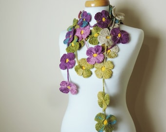 Flower Scarf, Colorful Scarf, Long Flower Necklace, Purple Yellow Brown Lariat Necklace, Lariat Scarf