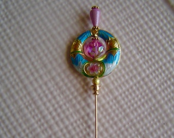 Hat pins Victorian style Women hats new hand crafted beads Pink crystal closonne gold #16