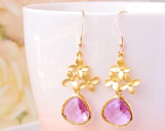 Wedding Jewelry For Brides Gold Flower Earrings Lavender Wedding Earrings Light Purple Earrings Romantic Floral Bridal Earrings Gift For Her