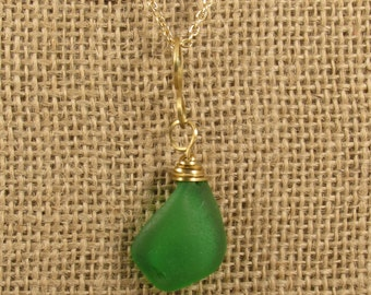Emerald Green Beach Glass Necklace on Gold Chain