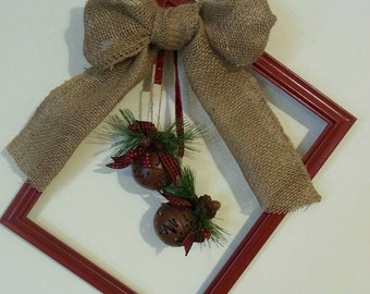 Rustic Red Burlap Holiday/Christmas Picture Frame Door Wreath