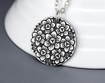 Flower Necklace - Silver Orchid Flower Mandala Pendant Necklace - Orchid Jewelry - Sterling Silver Flower Charm Necklace - Mothers Day Gift