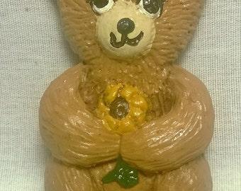 Handpainted Teddy Bear Holding Flower Magnet