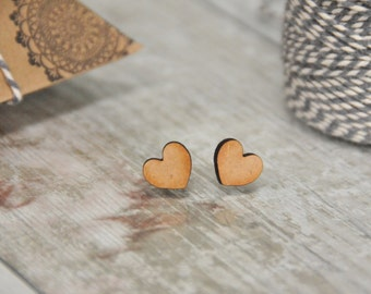 Love Heart Wooden Lasercut Stud Earrings