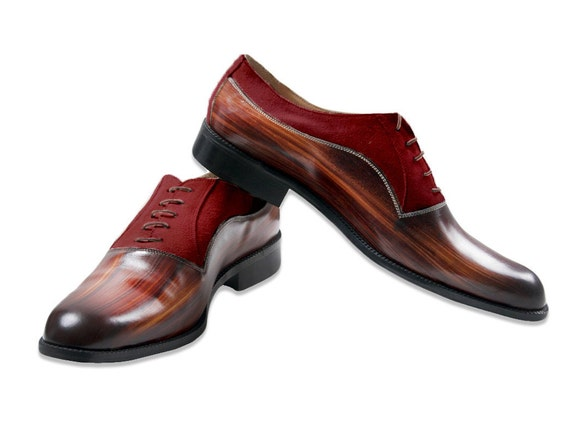 Leather man shoes, wood effect, marsala suede, Oxford, hand painted. made in Italy
