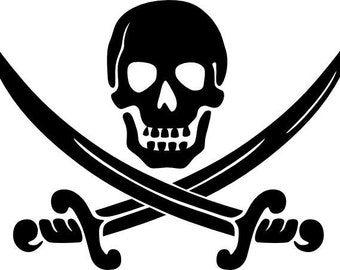 Pirate skull and swords vinyl sticker decal for car window custom personalized