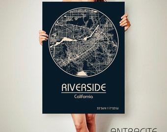 RIVERSIDE California CANVAS Map Riverside California Poster City Map Riverside California Art Print Riverside California