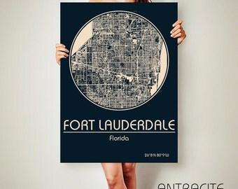 FORT LAUDERDALE Florida CANVAS Map Fort Lauderdale Florida Poster City Map Fort Lauderdale Florida Art Print