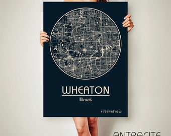 WHEATON Illinois CANVAS Map Wheaton Illinois Poster City Map Wheaton Illinois Art Print Wheaton Illinois poster Wheaton Illinois map