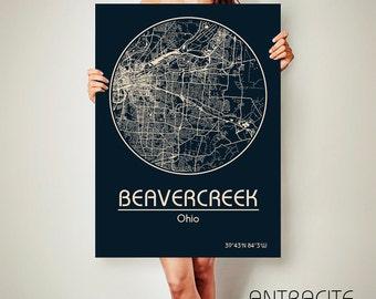 BEAVERCREEK Ohio CANVAS Map Beavercreek Ohio Poster City Map Beavercreek Ohio Art Print Beavercreek Ohio poster Beavercreek Ohio
