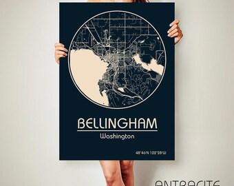 BELLINGHAM Washington CANVAS Map Bellingham Washington Poster City Map Bellingham Washington Art Print Bellingham Washington ArchTravel