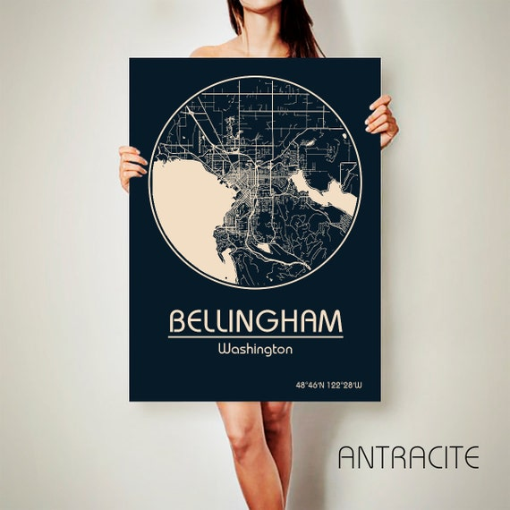 bellingham washington canvas map bellingham washington poster. Black Bedroom Furniture Sets. Home Design Ideas