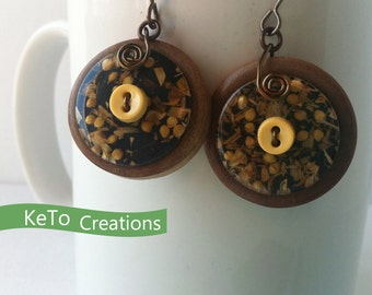 Re-Purposed Button Earrings, Upcycled Button Earrings, Mustard Seeds And Grasses Earrings