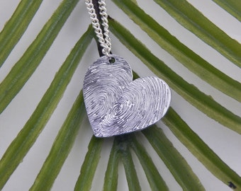 FAST PROCESSING Custom Actual Fingerprints Heart Shaped Pendant Necklace Personalized Classic, Enchanting Jewelry Piece