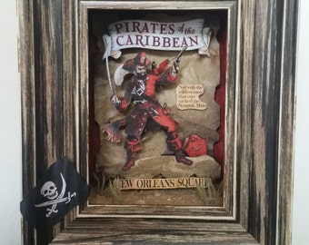 Pirates of the Caribbean - Retro Poster Collection, Disney, Pop Art, 3D, Shadowbox, Original, One-of-a-Kind, Made to order, Handmade